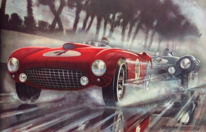 Max Staub所画的1954年勒芒冠军法拉利375 Plus和亚军捷豹D Type的对决