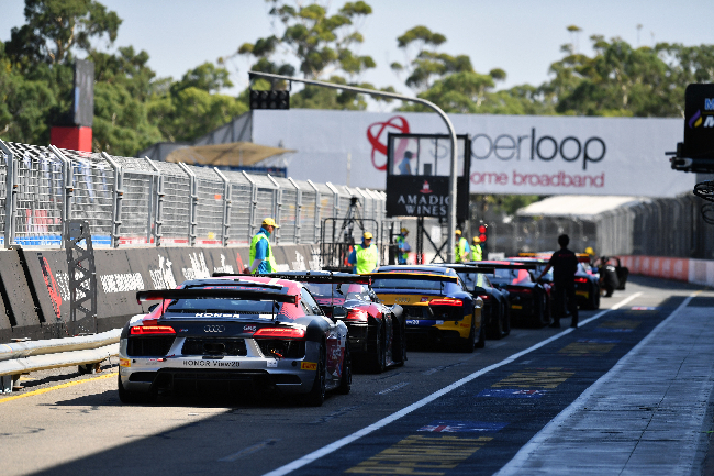 The Audi R8 LMS Cup cars line-up ready for Practise 3